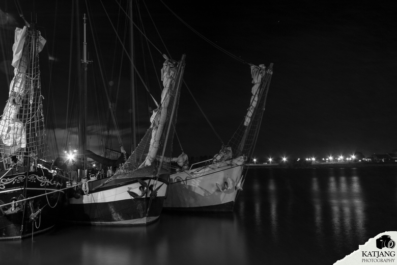 Boats at night -