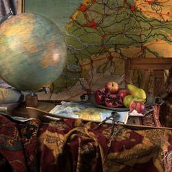 still life with rotating globe