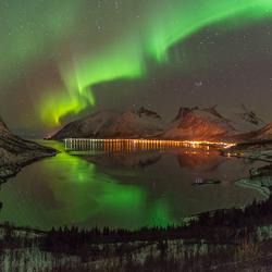 Noorderlicht bij Senja Noorwegen
