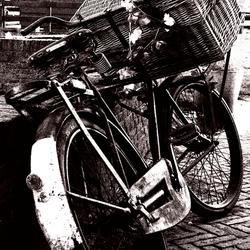 Op een oude fiets...