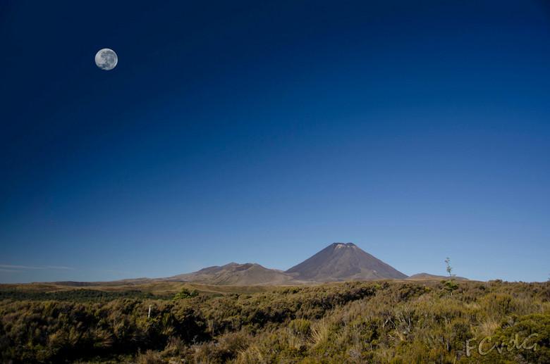 Mount Tongariro - De avond valt over Mt. Tongariro en Mt. Ruapehu in Nieuw Zeeland.