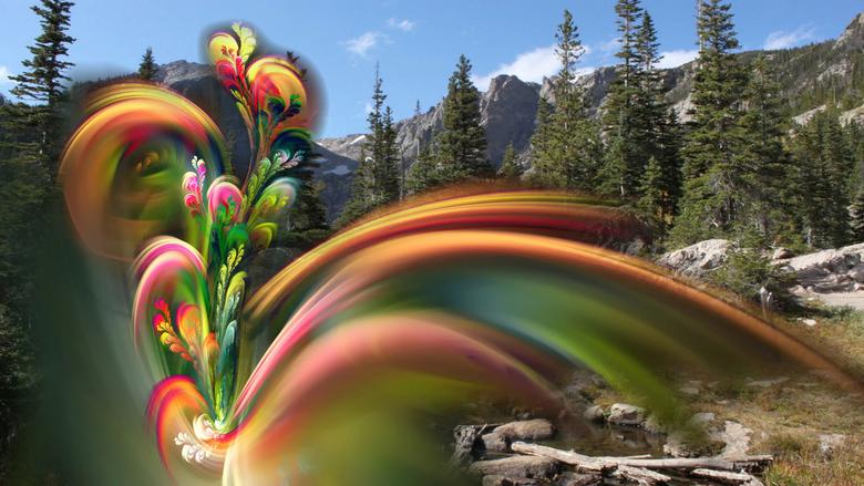 Experiment - Soms speel ik ook wel eens met foto's van internet, hier op de achtergrond een berglandschap, op de voorgrond fractal-bloemen.