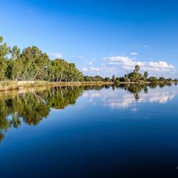 Reflectie in Okavango Rivier in Namibie