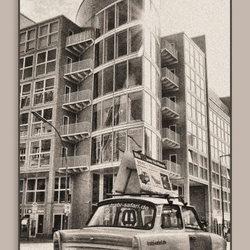 Een oude Trabant bij Checkpoint Charlie