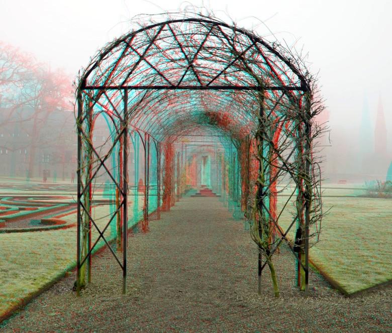 Rozentuin kasteel De Haar 3D - Rozentuin kasteel de haar haarzuilens<br /> anaglyph stereo red/cyan