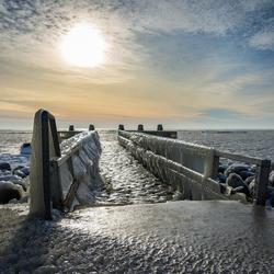 Afsluitdijk in winterse sferen