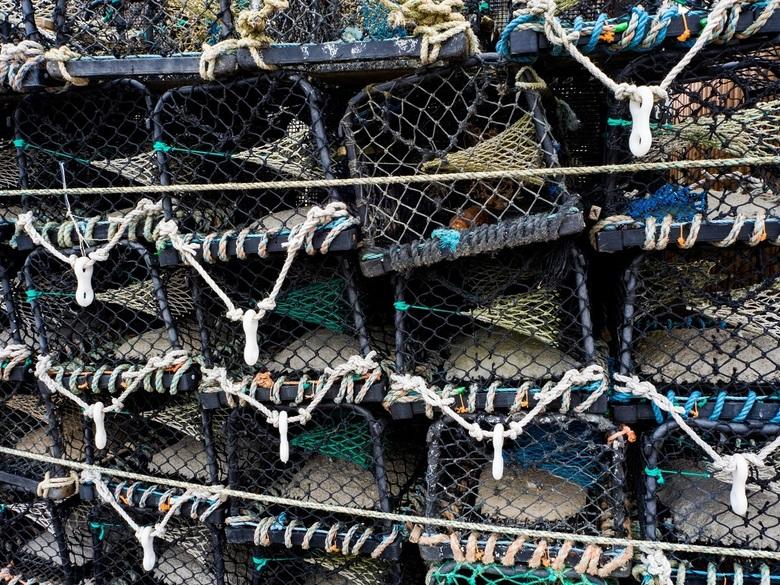 Lobster Pots - Deze stapel kreeftevallen stonden opgestapeld bij een heel kleine werkplaats in het haventje van Stonehaven in het Noord-Oosten van Sch