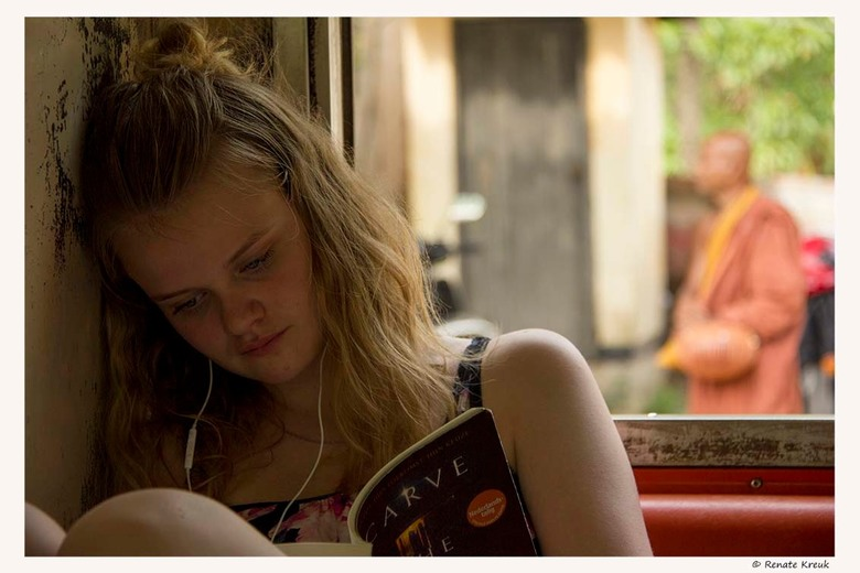 Girl on a train to Puttalam, Sri Lanka -
