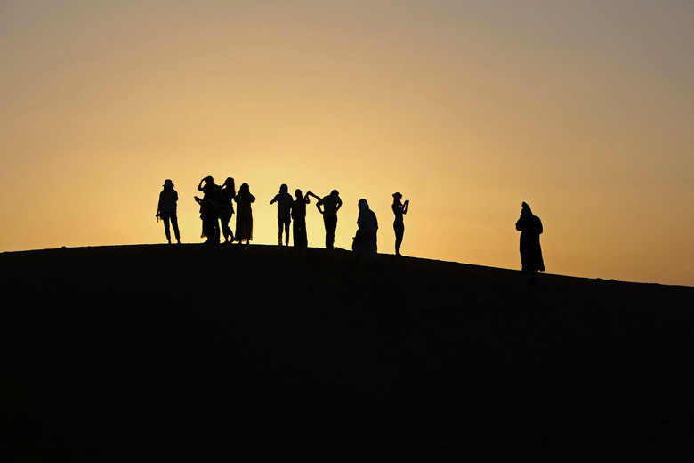 zonsondergang in de Sahara - Zonsondergang in de Sahara, (merzouga, Marokko)