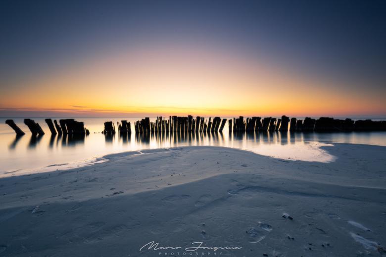 Paaltjesrij aan het ijsselmeer bij Hindeloopen.