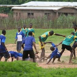 Fanatieke voetballers in Ghana