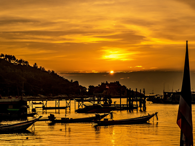 Orange sunset Koh Tao -