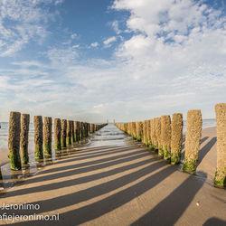 Palenrij op het strand van Westkapelle (Zeeland)