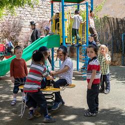 Orthodoxe kleuterschool in Safed Israël