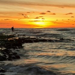 Zonsondergang op Texel. Strandslag Paal 9
