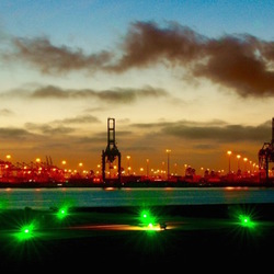Industrieel avondlicht