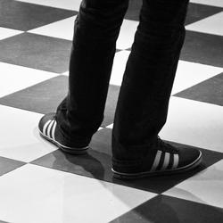 B&W shoes on a B&W floor
