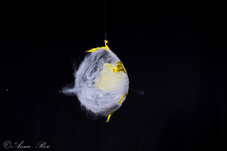 """Ahh kapotte ballon - Uit de """"ahhh kapot"""" serie, dit keer een ballon met meel. Links op de foto zie je een klein vlekje dat is de kogel waarm"""