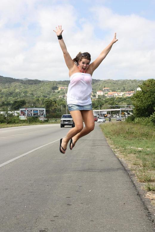 Springende dame - Springende dame op Jamaica