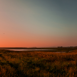 Zeemist bij zonsondergang