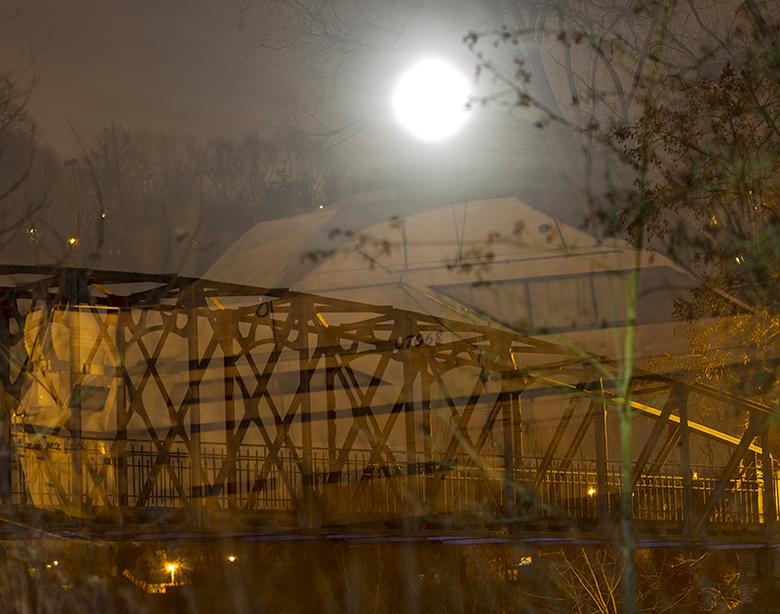nachtfoto - Pollare aan de Dender