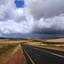 Dreigende luchten op weg naar Cape Agulhas, Zuid Afrika