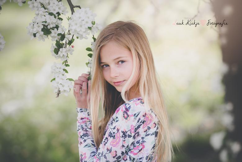 Blossom girl - Een foto van mijn dochter Tess bij de bloesem boom.