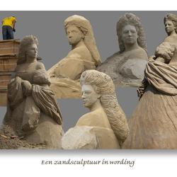 Een zandsculptuur in wording