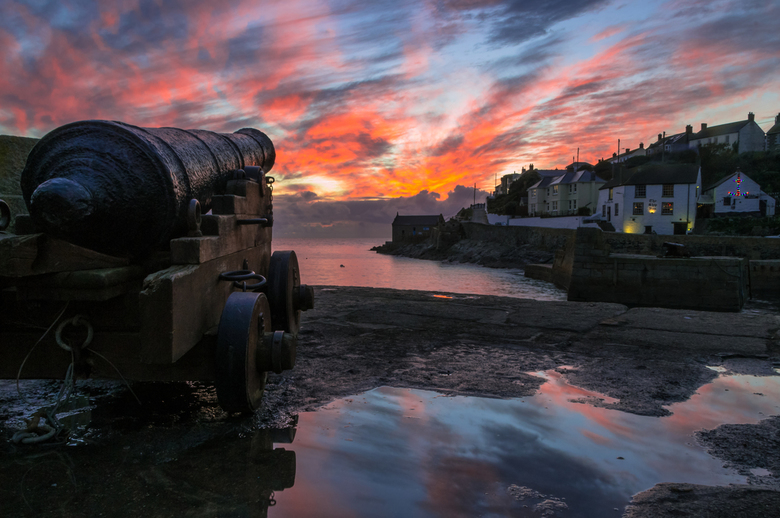 Sunset at Porthleven. - Porthleven, Cornwall.<br /> UK.