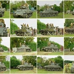 Draaien van de Sherman Tank op de toegangsweg.