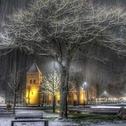 Sneeuw in de avond.