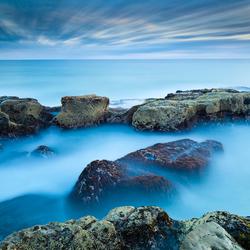 Rocks on blue