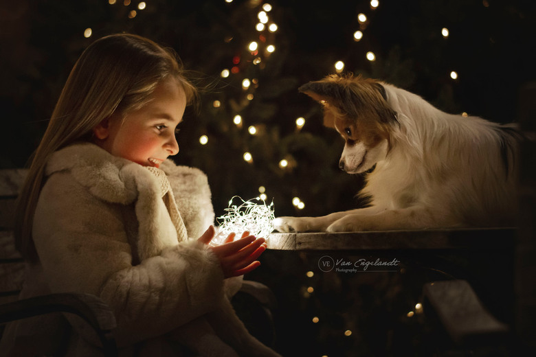 little girl and her dog -
