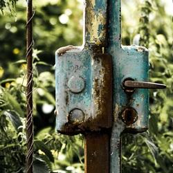 Voor een gesloten hek staan...