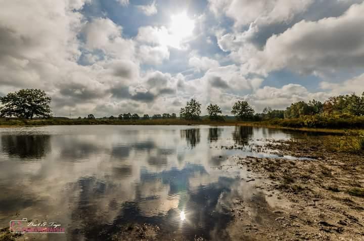 Weerspiegeling van de wolken en de zon  - Een mooi moment dat er kwam tussen de regenbuien door.