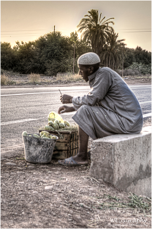 2017 Op straat in Marrakech 6 - Deze man probeert vruchten van een cactus te verkopen.