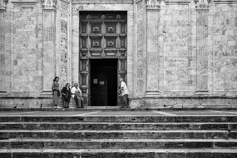 Italië 55 - Bij de kathedraal van Sienna, Italië.