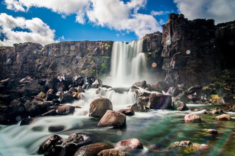 Oxararfoss waterval IJsland - lange sluitertijd - Oxararfoss waterval IJsland - lange sluitertijd