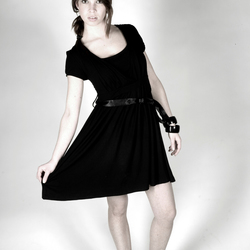 Pulling her dress