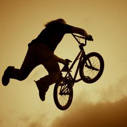 Jump in sunset