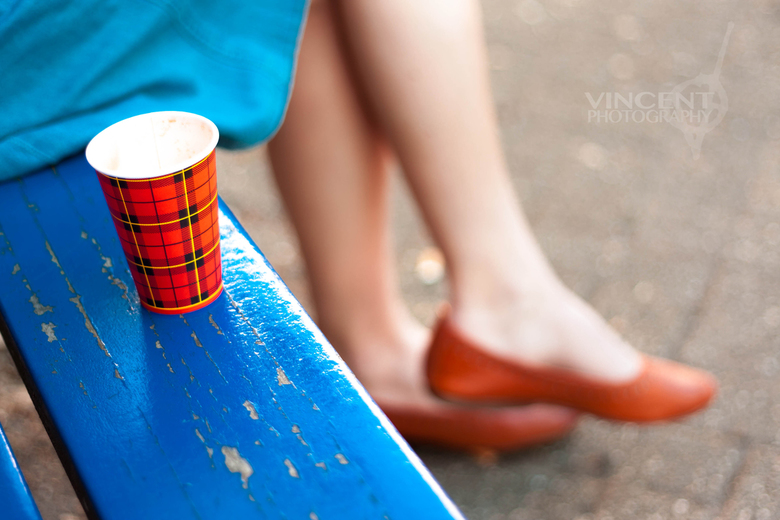 Blue skirt, Red cup