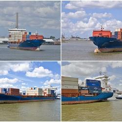 Een containerschip onderweg van A naar B.