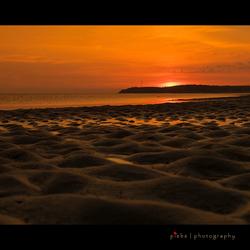Zonsondergang strand Normandië