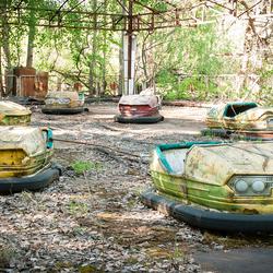 Prypiat (verdrijvingszone Tsjernobyl - Oekraïne) - Botsauto's op kermis die nooit is opengegaan
