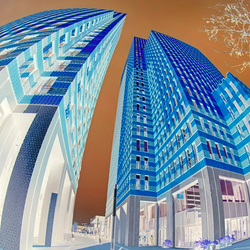 the curving blue buildings