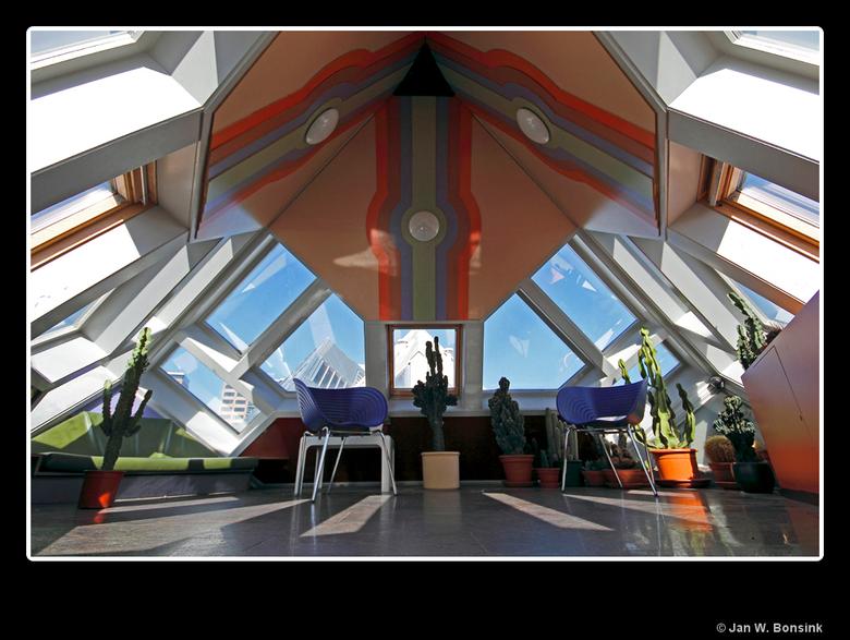 Kubuswoning - Vlak bij de bibliotheek in de vorige foto staan de kubuswoningen. Deze foto is van de bovenetage van de &quot;kijk&quot;-kubus.<br /> <