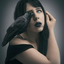Blue eyed raven