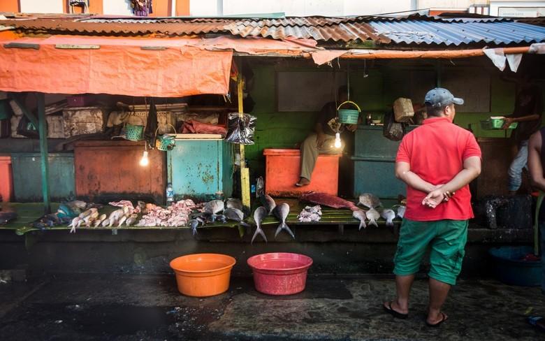Ambon - markt - Sfeerimpressie van de straten van Ambon..<br /> <br /> Kleurrijke Marktkraam met vis.