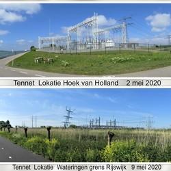 collage snelpano Tennet lokatie H v Holland  2 mei 2020 en Wateringen  9 mei 2020