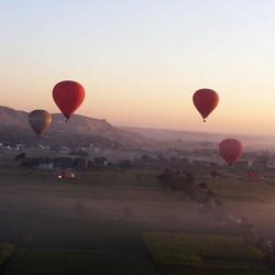 Luchtballonnen in de ochtend.
